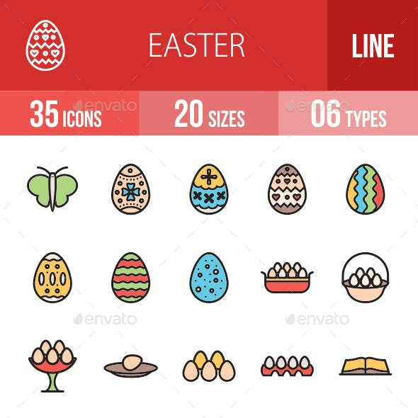 Easter Filled Line Icons
