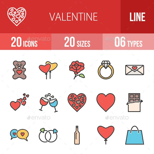 Valentine Filled Line Icons