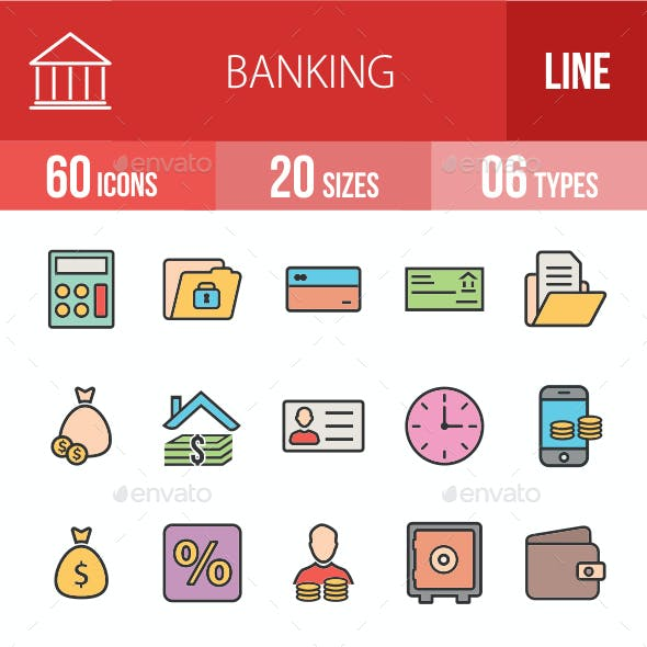 Banking Filled Line Icons