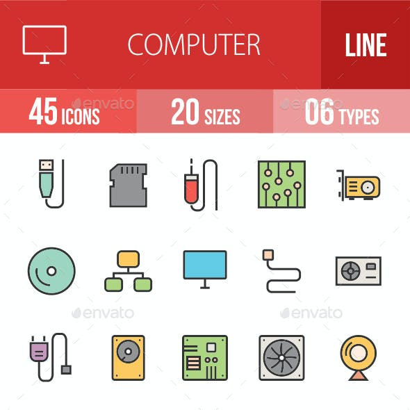 Computer Hardware Filled Line Icons