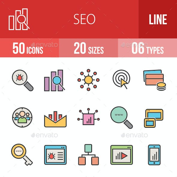 SEO Filled Line Icons