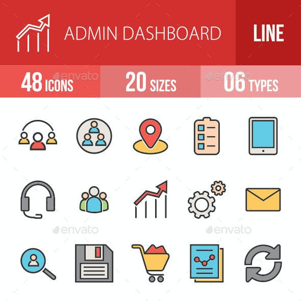 Admin Dashboard Filled Line Icons