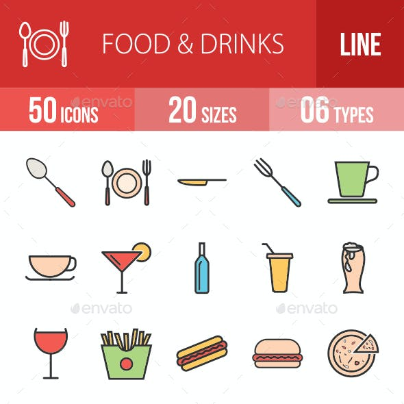 Food & Drinks Filled Line Icons