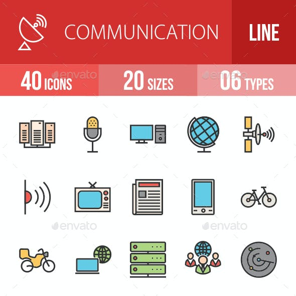 Communication Filled Line Icons