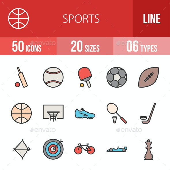 Sports Filled Line Icons