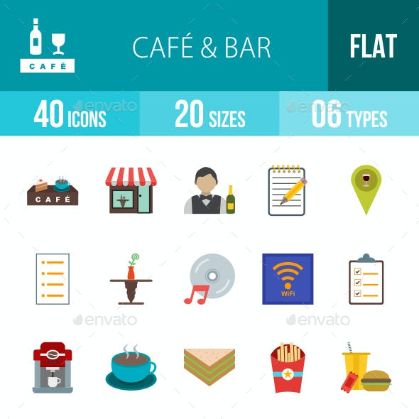 Cafe & Bar Flat Multicolor Icons