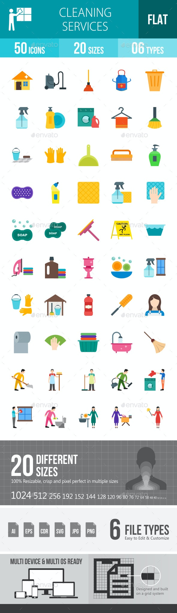 Cleaning Services Flat Multicolor Icons - Icons
