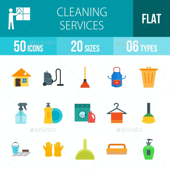 Cleaning Services Flat Multicolor Icons