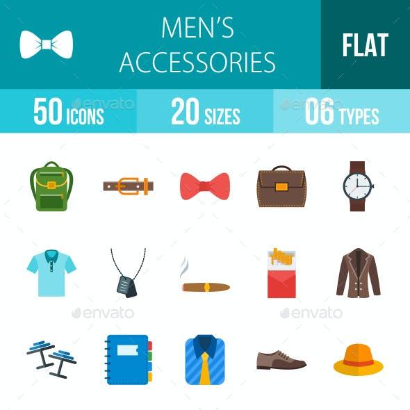 Men's Accessories Flat Multicolor Icons
