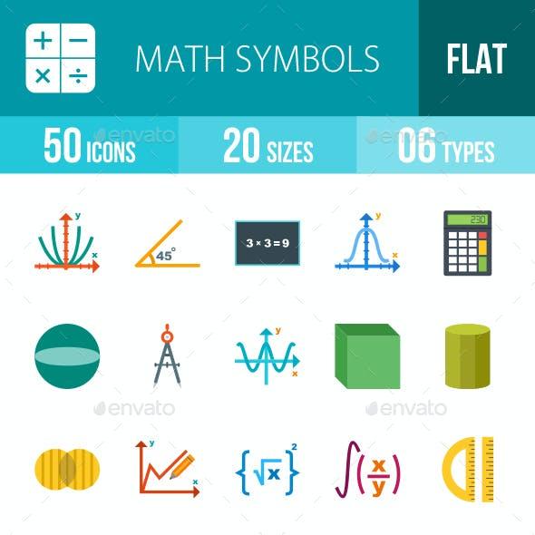 Math Symbols Flat Multicolor Icons