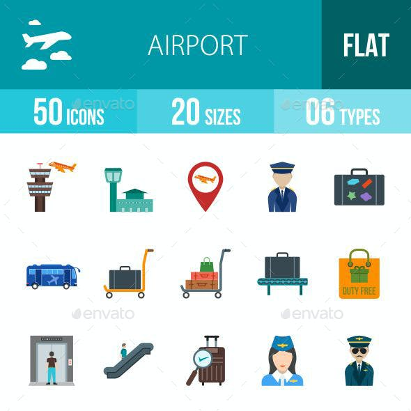 Airport Flat Multicolor Icons