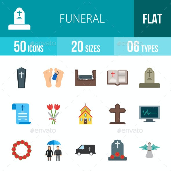 Funeral Flat Multicolor Icons