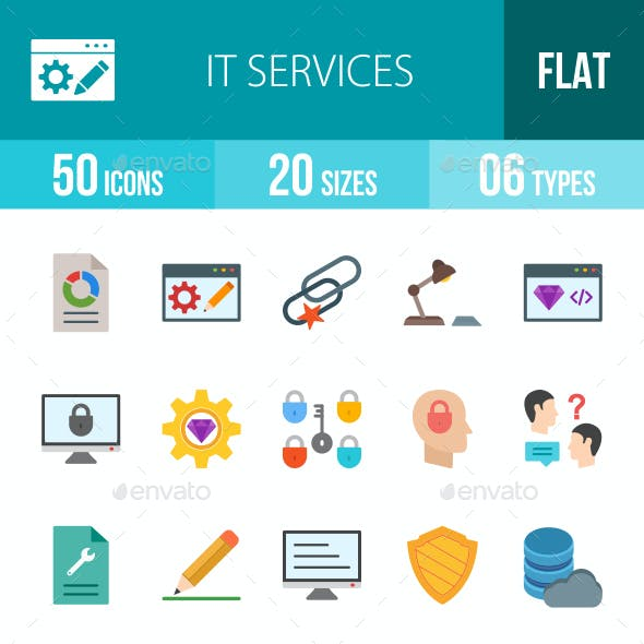 IT Services Flat Multicolor Icons