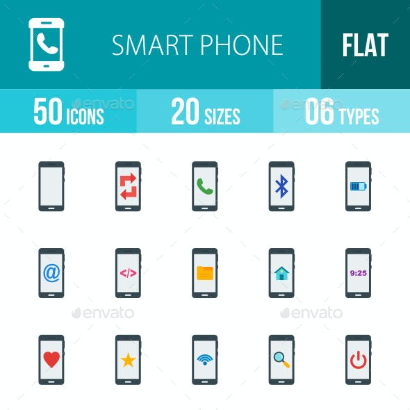 Smartphone Flat Multicolor Icons