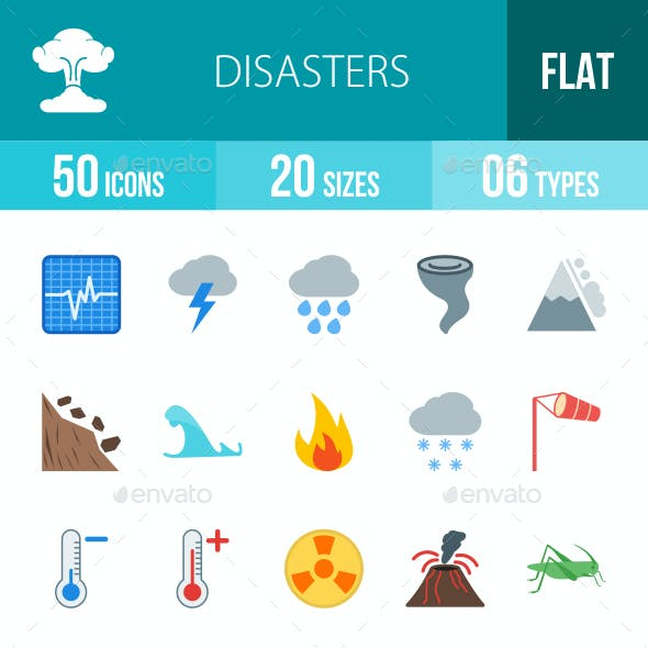 Disasters Flat Multicolor Icons