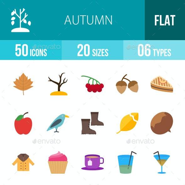 Autumn Flat Multicolor Icons
