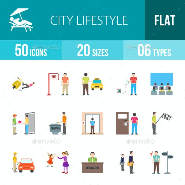 City Lifestyle Flat Multicolor Icons