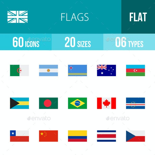 Flags Flat Multicolor Icons