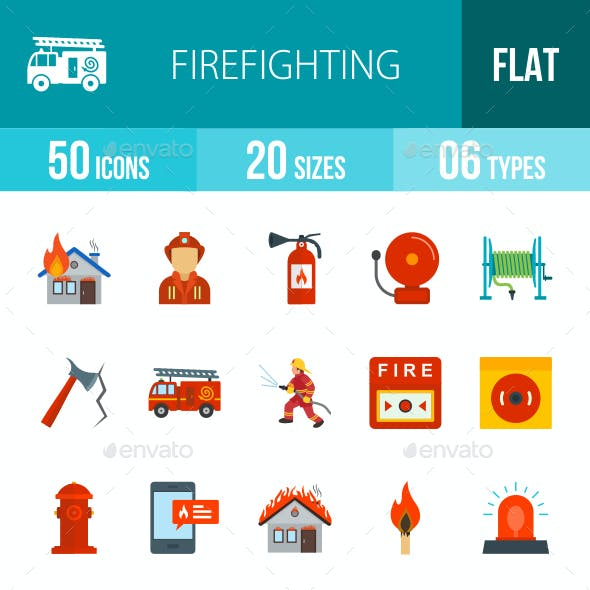 Firefighting Flat Multicolor Icons