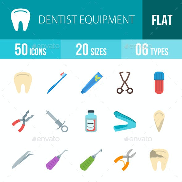 Dentist Equipment Flat Multicolor Icons