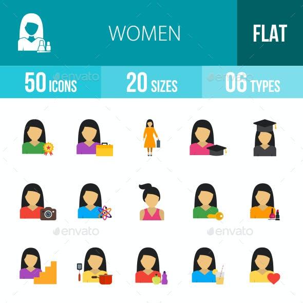 Women Flat Multicolor Icons