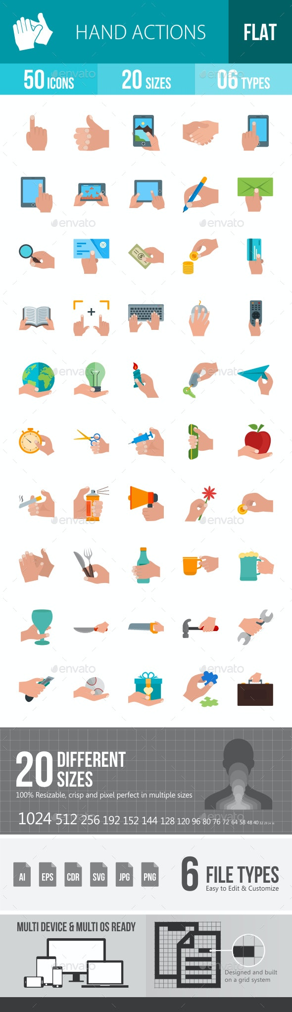Hand Actions Flat Multicolor Icons - Icons