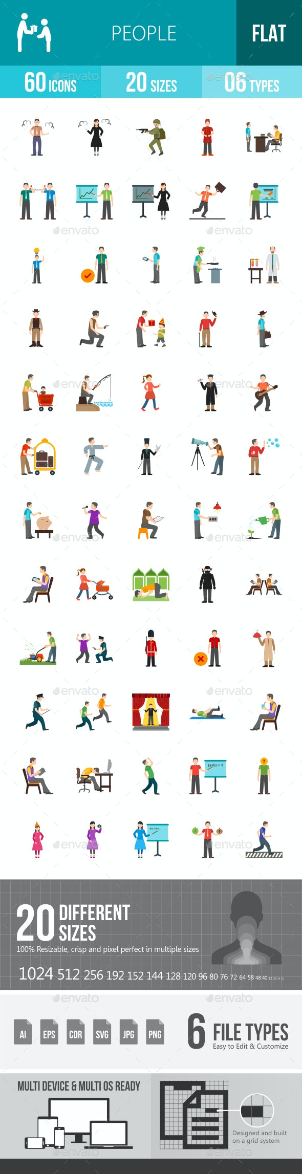 People Flat Multicolor Icons - Icons