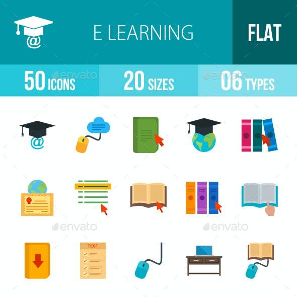 E Learning Flat Multicolor Icons