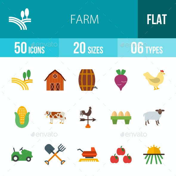 Farm Flat Multicolor Icons