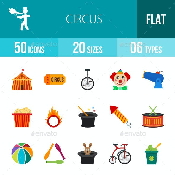 Circus Flat Multicolor Icons