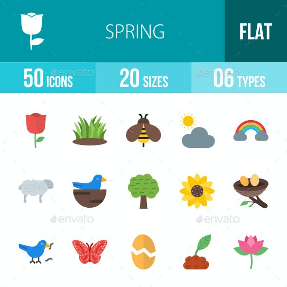 Spring Flat Multicolor Icons