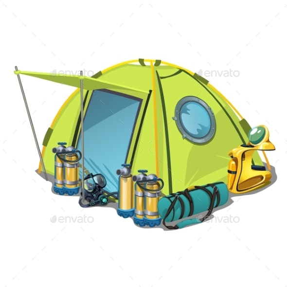 Yellow Tent with Equipment for Diving Isolated - Sports/Activity Conceptual