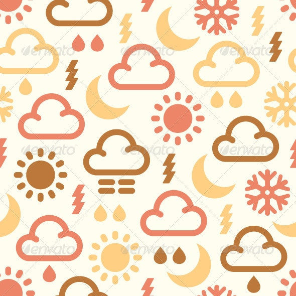 Seamless Pattern Of Weather Icons  - Backgrounds Decorative