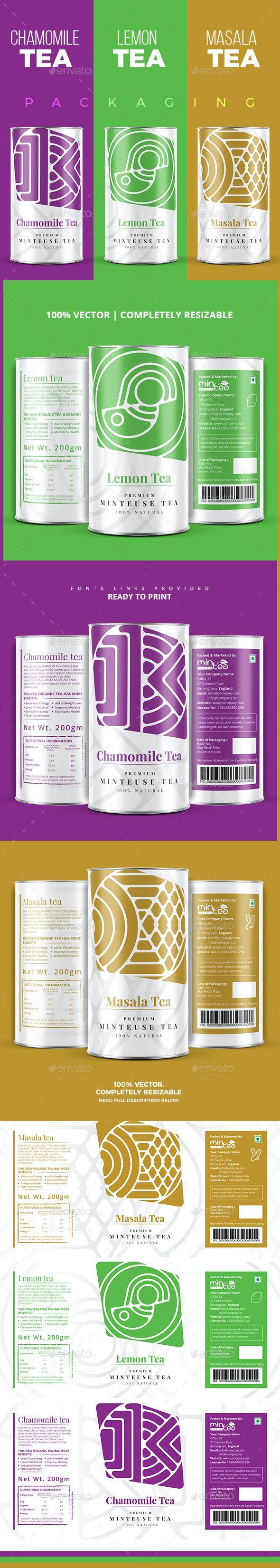 Chamomile | Lemon | Masala Tea Packaging - Packaging Print Templates