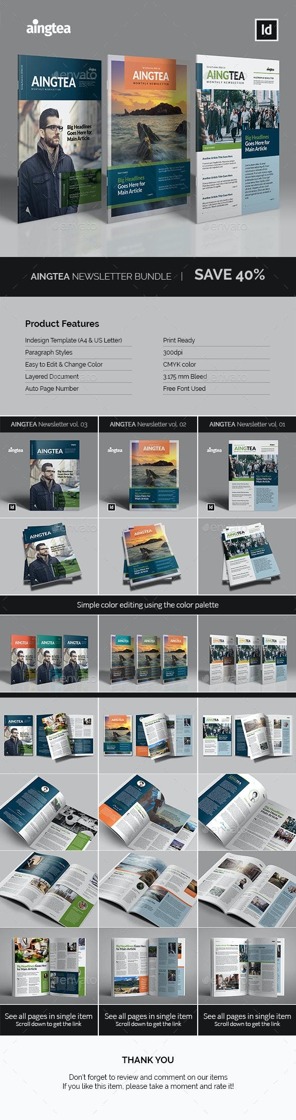 Aingtea Newsletter Bundle - Newsletters Print Templates