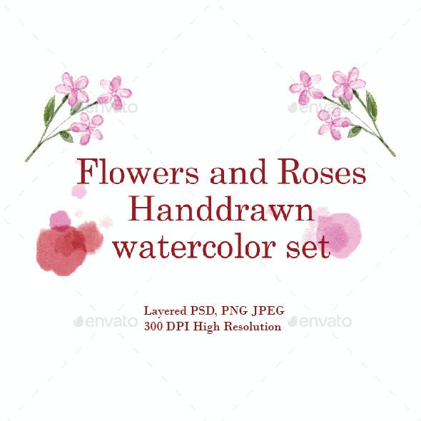 Flowers and Roses Hand Drawn Watercolor Set