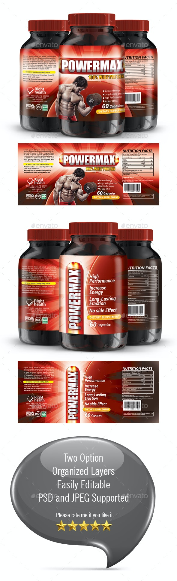 Protein Supplement Label Template - Packaging Print Templates