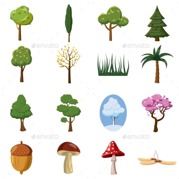 Forest Icons Set, Cartoon Style - Flowers & Plants Nature