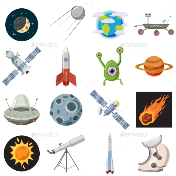 Space Icons Set, Cartoon Style - Technology Conceptual