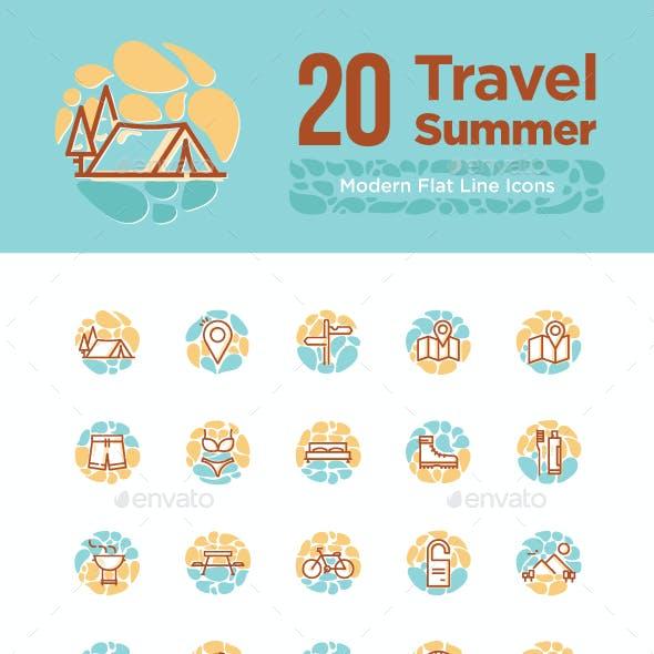 20 Travel Summer icon sets