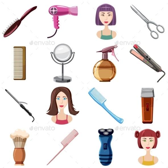 Hairdresser Icons Set, Cartoon Style - Miscellaneous Vectors