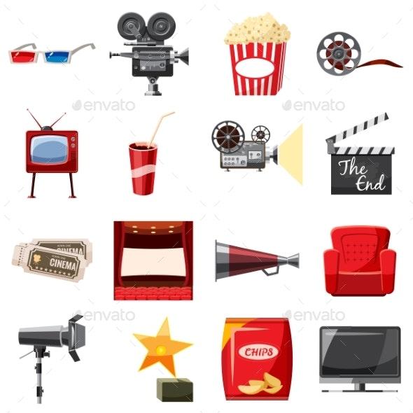 Cinema Icons Set in Cartoon Style - Miscellaneous Vectors