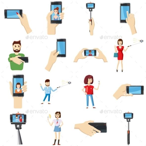 Selfie Icons Set, Cartoon Style - Miscellaneous Vectors