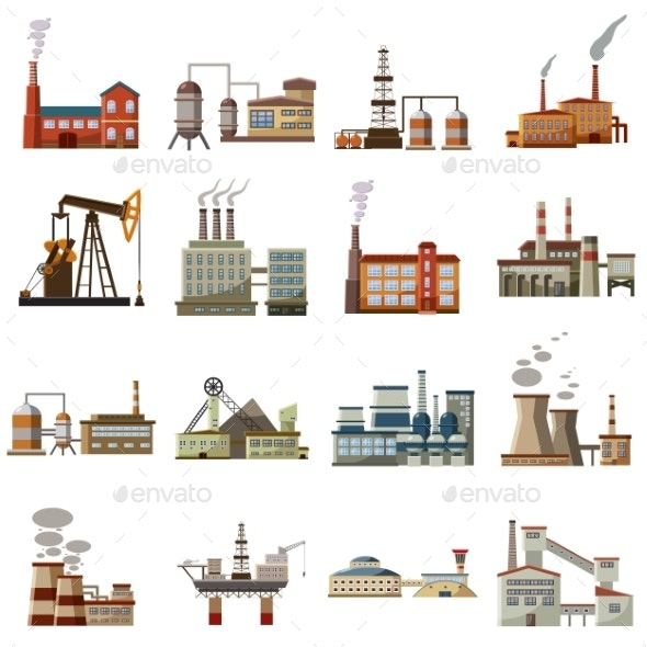 Factory Icons Set, Cartoon Style - Industries Business
