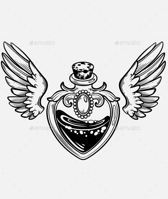 Magic Bottle with Wings - Tattoos Vectors