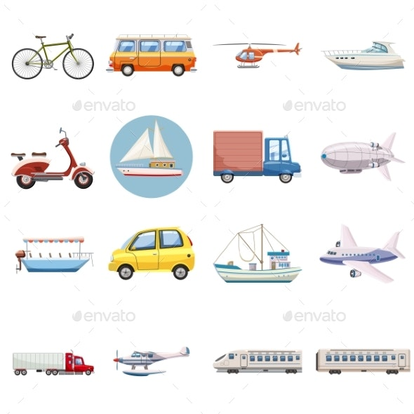 Transportation Icons Set, Cartoon Style - Miscellaneous Vectors