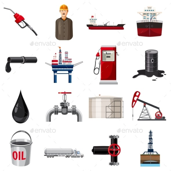 Oil Production Icons Set, Cartoon Style - Industries Business