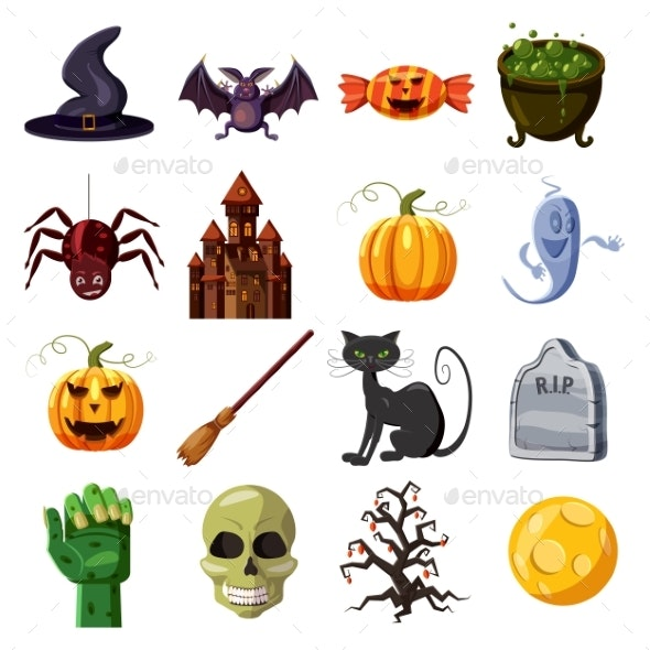 Halloween Icons Set, Cartoon Style - Miscellaneous Vectors
