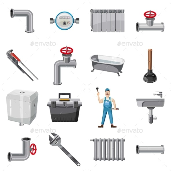 Plumber Items Icons Set, Cartoon Style - Industries Business