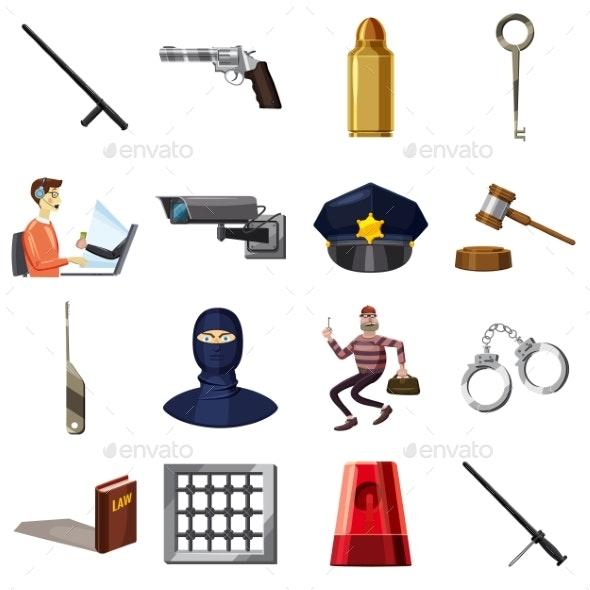 Criminal Symbols Icons Set, Cartoon Style - People Characters